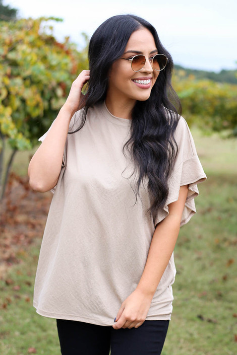 Taupe - Ruffle Sleeve Crepe Knit Top