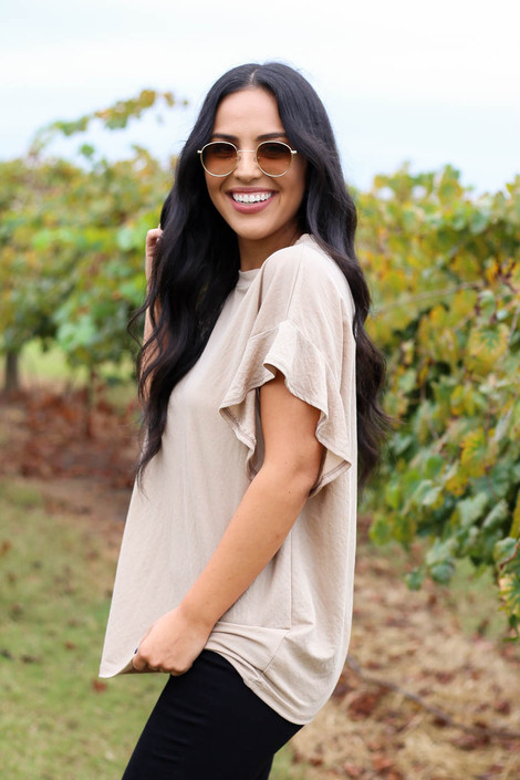 Taupe - Ruffle Sleeve Crepe Knit Top Side View