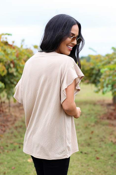 Taupe - Ruffle Sleeve Crepe Knit Top Back View