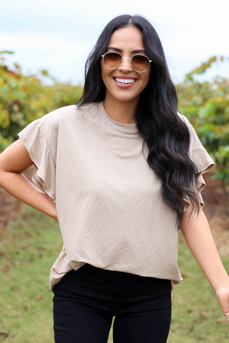 Taupe - Ruffle Sleeve Crepe Knit Top Tucked In