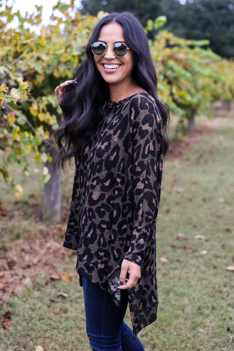 Olive - Asymmetrical Leopard Knit Top Side View