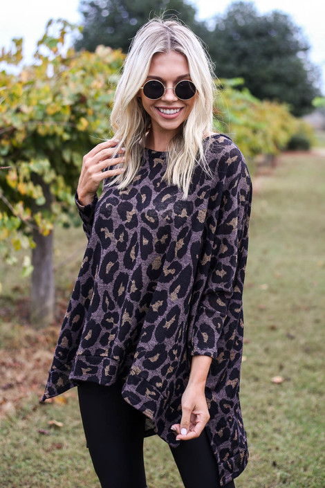 Mocha - Asymmetrical Leopard Knit Top