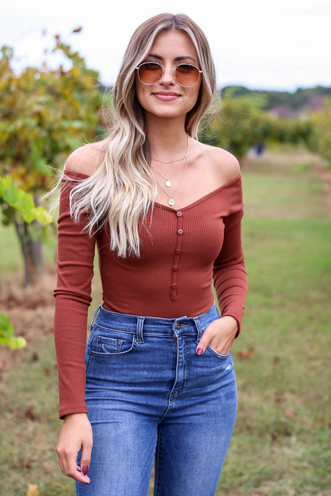 Rust - Ribbed Button Up Bodysuit