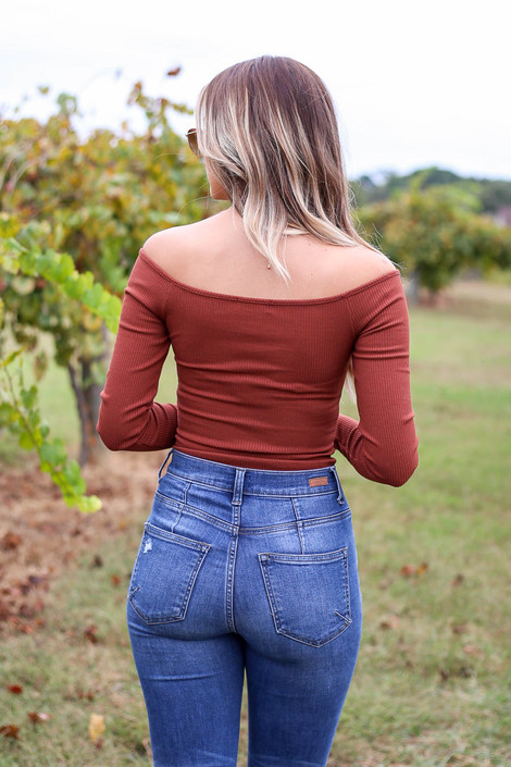Rust - Ribbed Button Up Bodysuit Back View