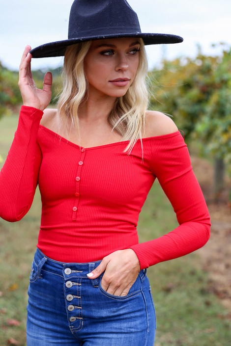 Red - Ribbed Button Up Bodysuit Side View