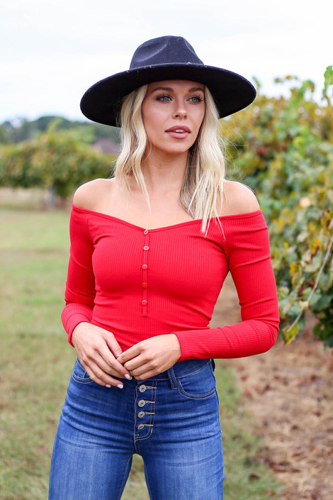 Red - Ribbed Button Up Bodysuit