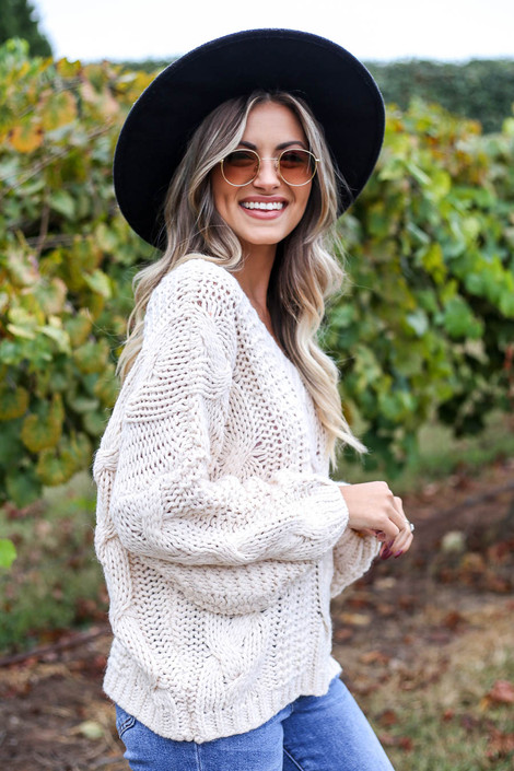 Ivory - Chunky Cable Knit Sweater Side View
