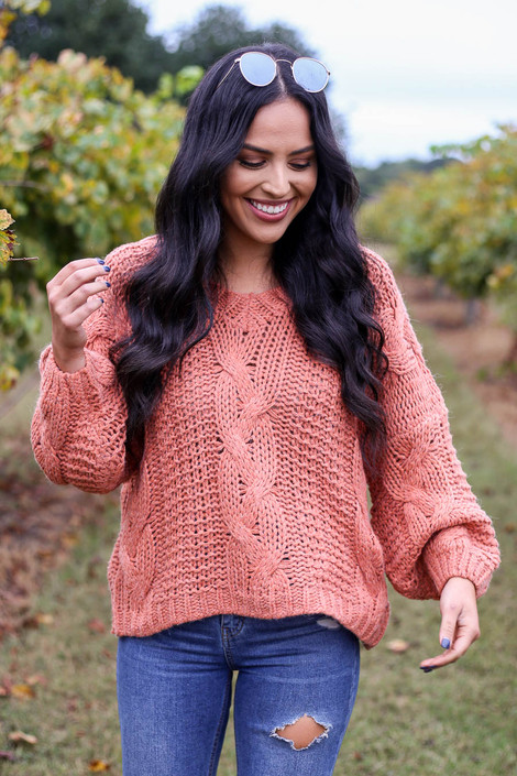 Rust - Chunky Cable Knit Sweater Front View