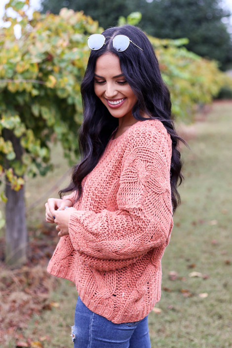 Dress Up Model wearing Rust Chunky Cable Knit Sweater Side View