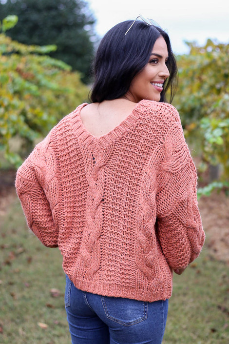 Dress Up Model wearing Rust Chunky Cable Knit Sweater Back View