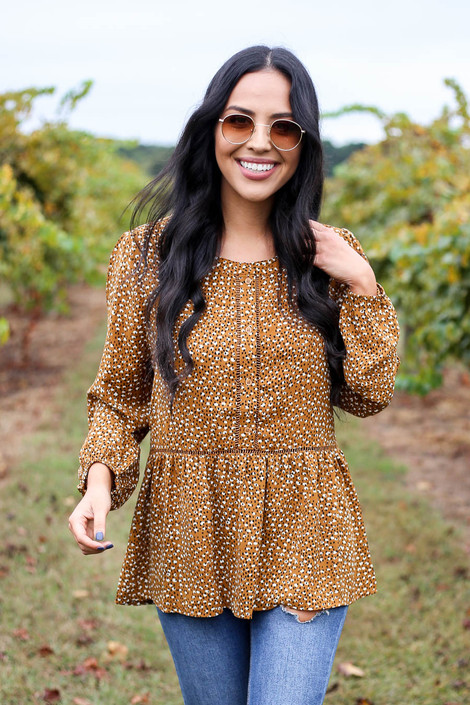 Camel - Spotted Peplum Blouse