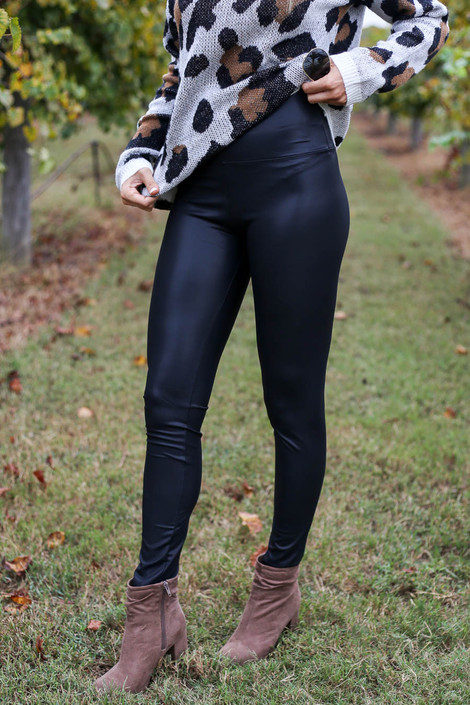 Black - Faux Leather Leggings Detail View