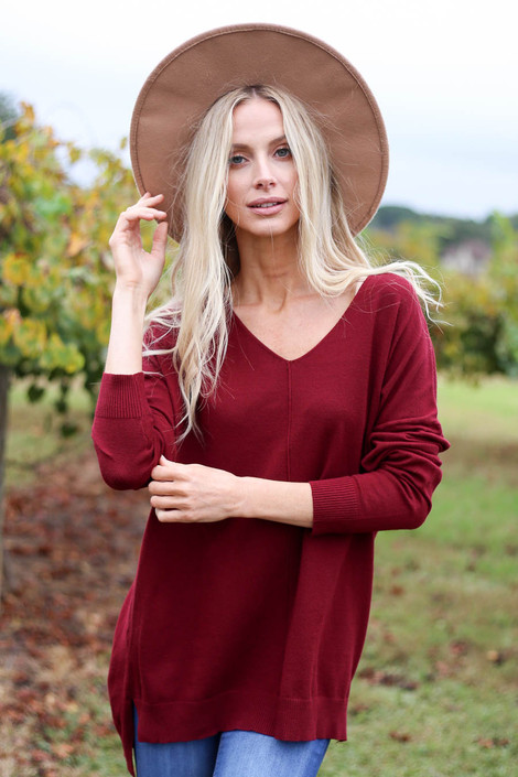Burgundy - V-Neck Knit Sweater