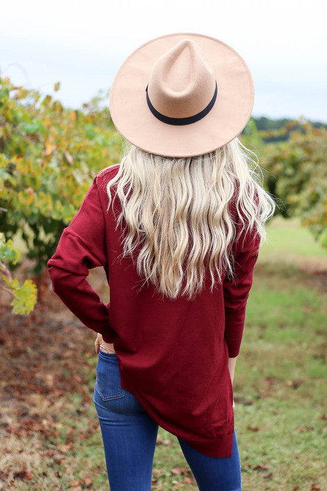 Burgundy - V-Neck Knit Sweater Back View