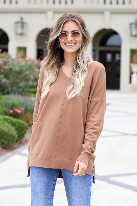 Camel - V-Neck Knit Sweater
