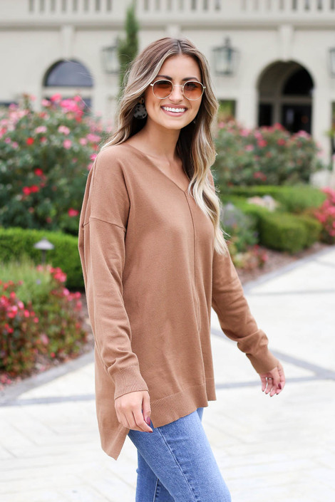 Camel - V-Neck Knit Sweater Side View