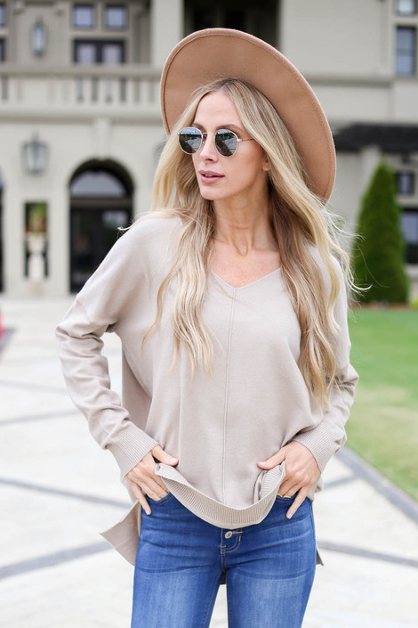 Model wearing Taupe V-Neck Knit Sweater Front View