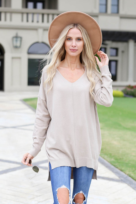 Taupe - V-Neck Knit Sweater