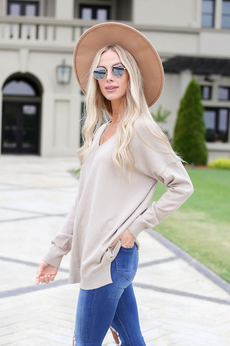 Model wearing Taupe V-Neck Knit Sweater Side View