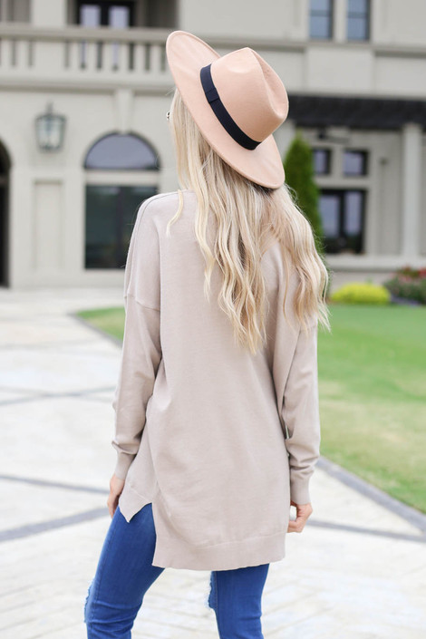Taupe - V-Neck Knit Sweater Back View