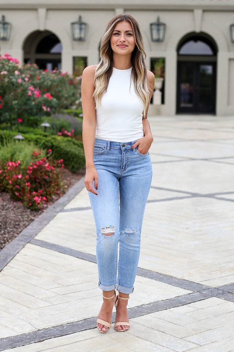 Light Wash - Frayed Hem Boyfriend Jeans