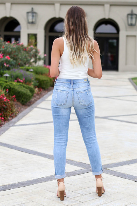 Light Wash - Frayed Hem Boyfriend Jeans Back View