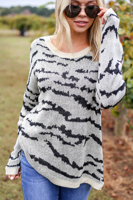 Ivory - Zebra Eyelash Knit Sweater Detail View