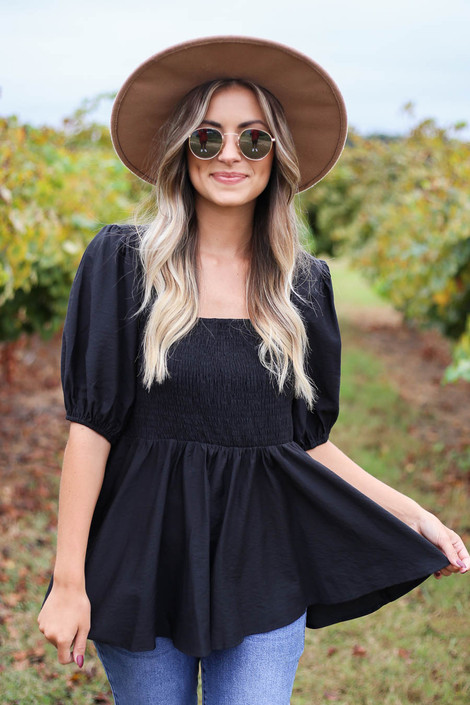 Dress Up Model wearing Black Smocked Bust Puff Sleeve Blouse