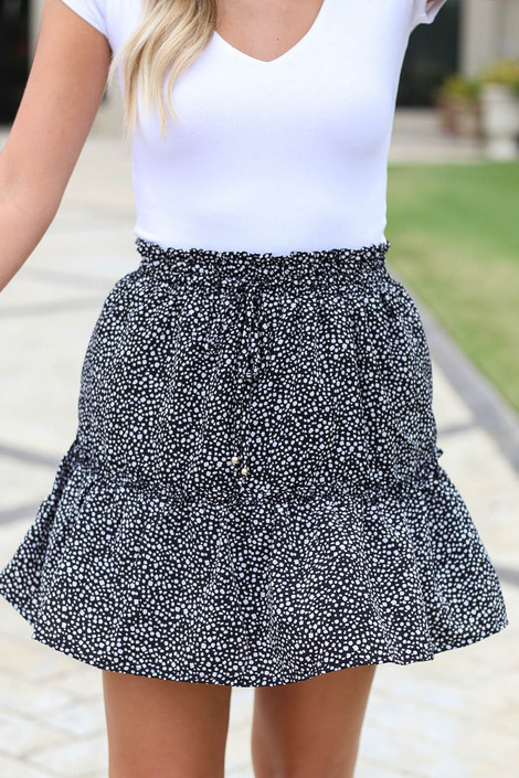 Black - Spotted Ruffled Mini Skirt Detail View