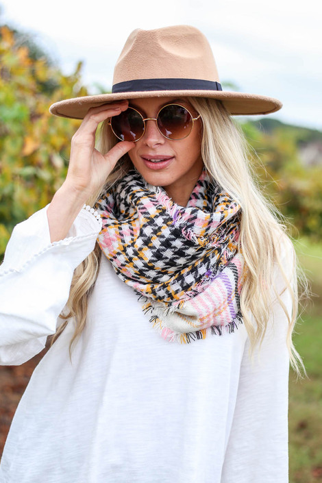 Black - Plaid Scarf