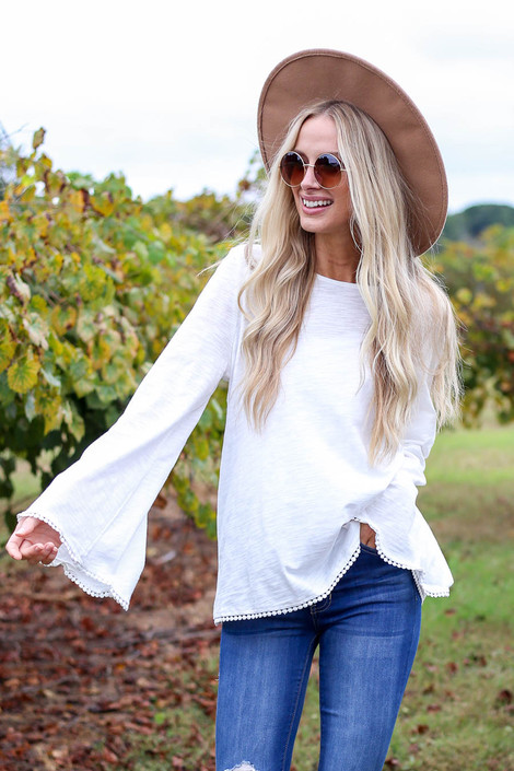 Ivory - Lace Trim Bell Sleeve Top Front View