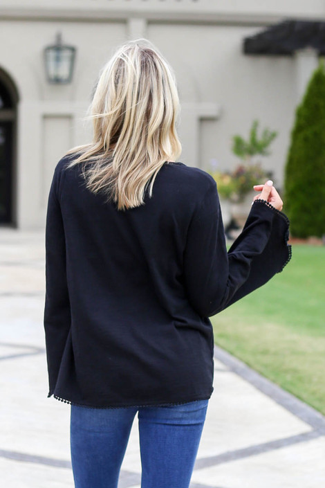 Black - Lace Trim Bell Sleeve Top Back View