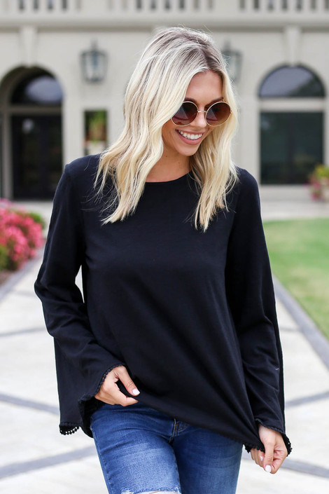 Black - Lace Trim Bell Sleeve Top