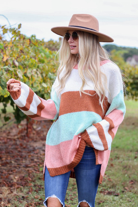 Pink - Oversized Striped Knit Sweater