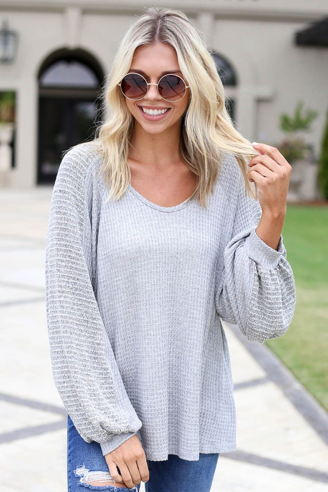 Grey - Woven Sleeve Waffle Knit Top Front View