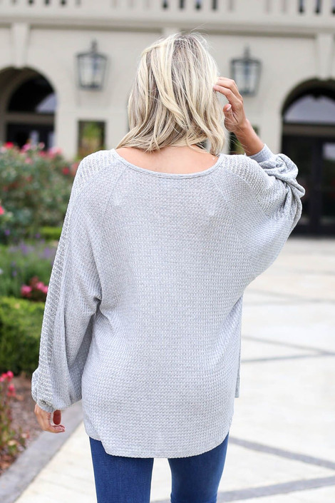 Grey - Woven Sleeve Waffle Knit Top Back View