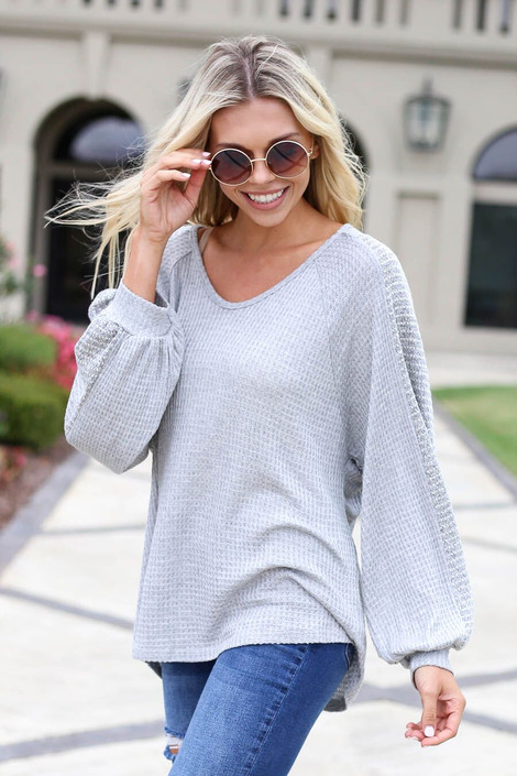 Grey - Woven Sleeve Waffle Knit Top Front Angle View