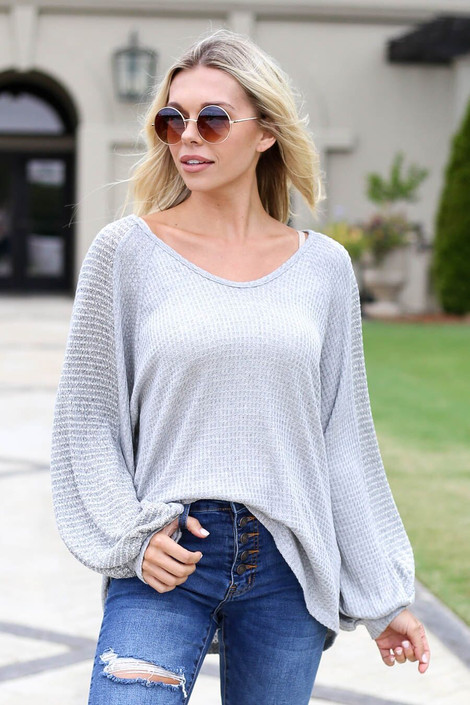 Light Grey - Woven Sleeve Waffle Knit Top Front View