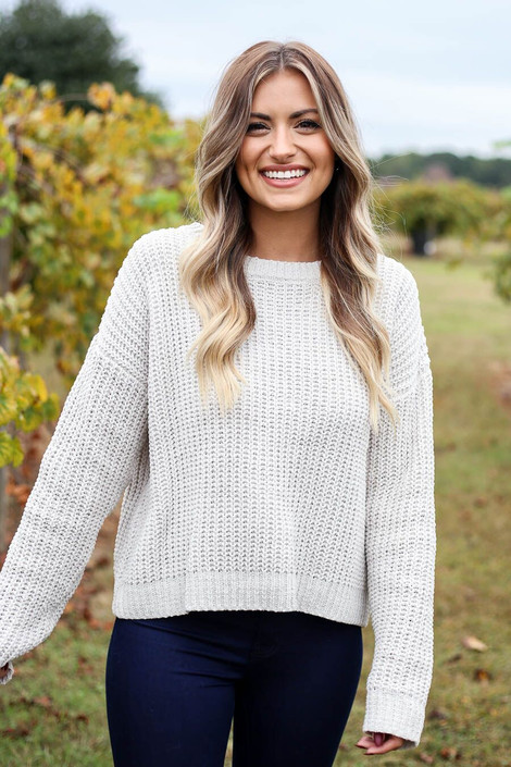 Grey - Cropped Chenille Sweater Front View