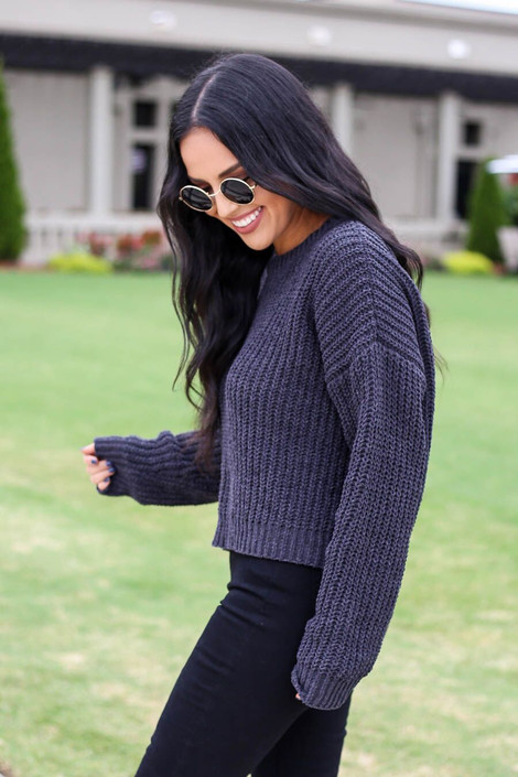 Charcoal - Cropped Chenille Sweater Side View