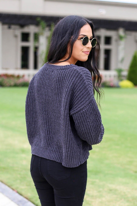 Grey -Cropped Chenille Sweater Back View