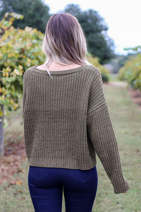 Olive - Cropped Chenille Sweater Back View