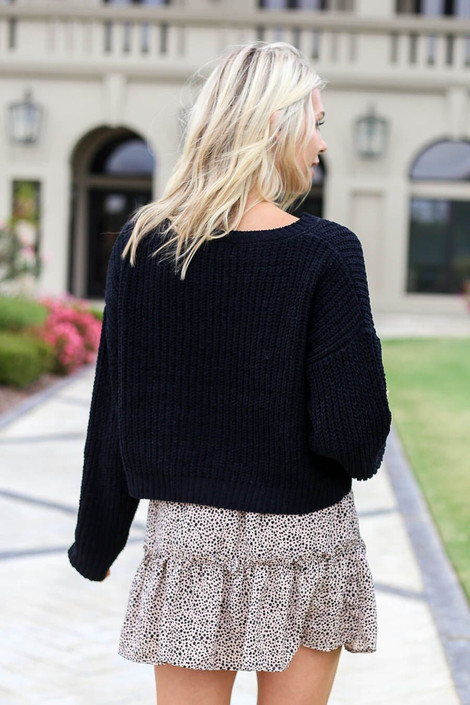 Black -Cropped Chenille Sweater Back View