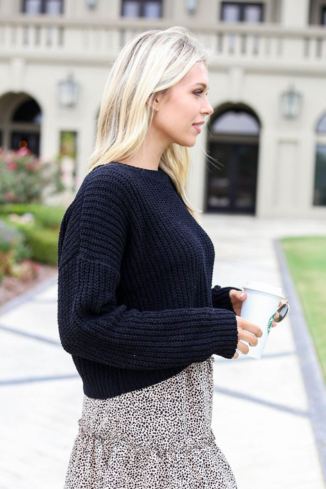 Black - Cropped Chenille Sweater Side View