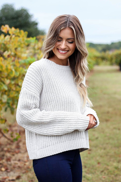 Grey - Cropped Chenille Sweater Front Angle View