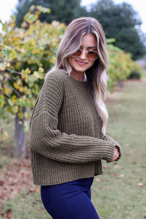 Olive-Cropped Chenille Sweater Side View