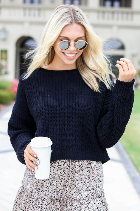 Black - Cropped Chenille Sweater Front View