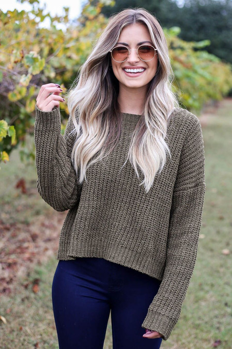 Olive-Cropped Chenille Sweater Front View
