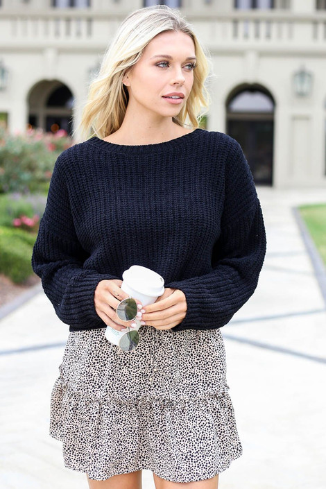 Black -Cropped Chenille Sweater Front View