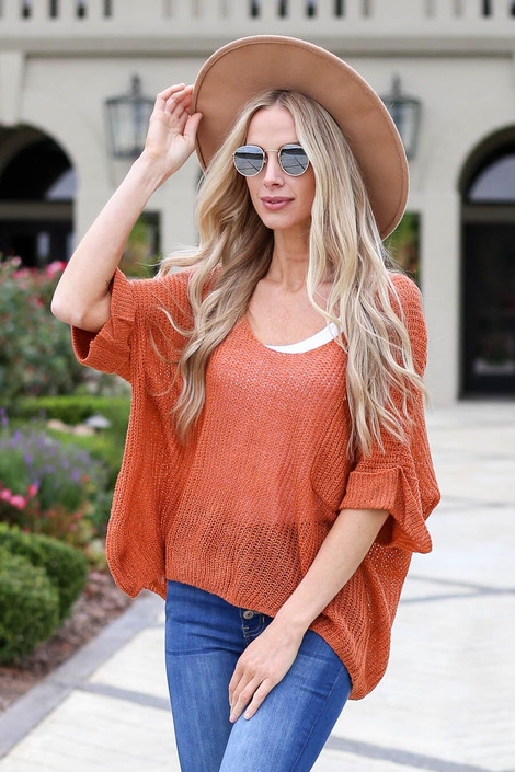 Rust - Open Knit Oversized Top Front View